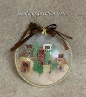 Pallina di Natale artigianale con villaggio - Christmas village - fuori porta Natale - decorazioni albero di Natale