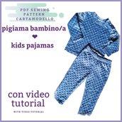 Cartamodello pdf pigiama bambino/a maglia e pantalone da 2 anni a 10 anni
