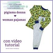 cartamodello pdf pigiama donna da S a 3xl