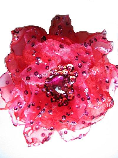 Fiore in organza fucsia e rosso