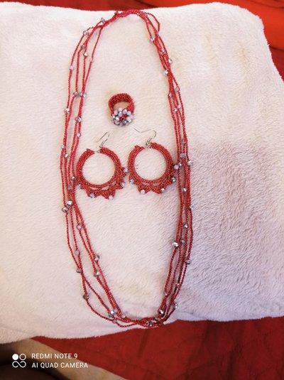 Parure collana anello orecchini fucsia e cristalli grigi
