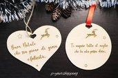 Palla di natale con nome in legno addobbi natalizi cuore personalizzato con dedica