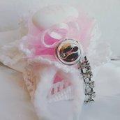 Bomboniera all'uncinetto per battesimo in rosa