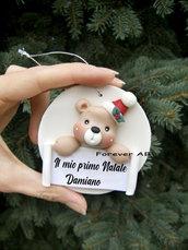 Il mio primo Natale - Addobbi personalizzati albero Natale Orso ,decorazione albero