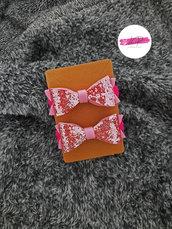 Coppia elastici per capelli con fiocco glitter
