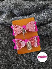 Coppia elastici per capelli con fiocco gioiello glitter