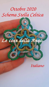 ITALIANO Schema,tutorial per creare una Stella Celtica con la tecnica del Chiacchierino, sia ad ago che navetta, ciondolo, orecchino o addobbo