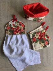 Set asciugamano, presine e cestino Natale