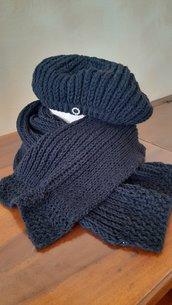 Completo sciarpa e cuffia colore nero