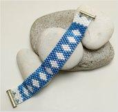 Bracciale perline azzurre, tessitura perle pregiate di vetro