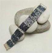 Bracciale micro perline pregiate di vetro, tessitura manuale