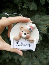 Addobbi personalizzati albero Natale orso rosa idea regalo natale, decorazione albero