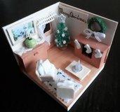 Modellino natalizio Bianco Natale salotto in legno dipinto a mano personalizzabile