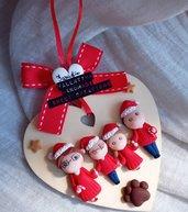 Targa cuore famiglia regalo Natale- zampina cane