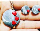 Parure collana con orecchini effetto pietra in fimo