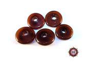 30 Perle Vetro a Rondelle : 22 mm diametro - Ambrato Scuro
