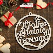 Il mio primo Natale - decorazione natalizia in legno 15x15 cm PERSONALIZZABILE CON NOME - I Maestri Made in Italy