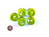 30 Perle Vetro a Rondelle : 22 mm diametro - Verde Acido