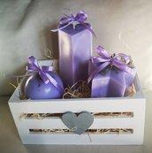 Set 3 candele alla lavanda con cassettina di legno