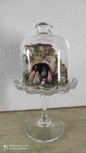 Presepe in mini alzatina in vetro per dolci
