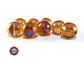 50 Perle in vetro A/B  - sfera 12 mm - Tondo - Ambrato Scuro