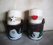 Candela decorata in confezione natalizia
