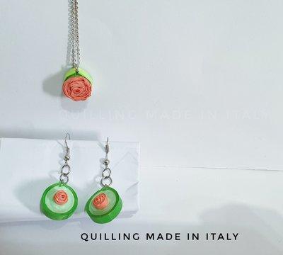 Set rosa collana e orecchini pendente