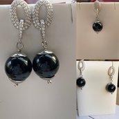 orecchini di Ossidiana e Argento925