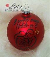 """Pallina di Natale in vetro """"IL NOSTRO PRIMO NATALE IN 3"""""""