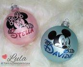 Pallina di Natale in vetro con Topolino & Minnie personalizzata con nome!