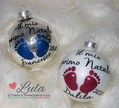 """Pallina di Natale in vetro """"Il mio primo Natale"""" con impronte piedini e personalizzata con nome! idea regalo neo mamma neonato"""
