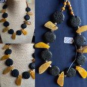 Collana particolare di Agata Gialla e Pietra Lavica