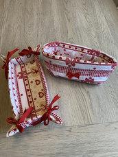 Set cestino multiuso bianco/rosso renna