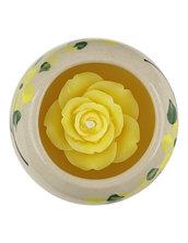 Candela Rosa Gialla, In Ceramica Rotonda Gialla, Aroma Vaniglia