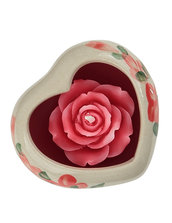 Candela Rosa Rossa, In Ceramica Cuore Rosso, Aroma Rosa Rossa