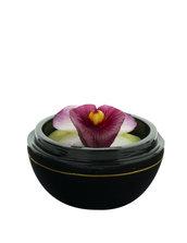 Orchidea Viola Profumata Intagliata A Mano In Una Sfera Di Legno Dipinta A Mano, Diametro 8cm