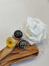 Anello regolabile anello donna anello fiori anello fatto a mano anello resina ranuncolo soffione fiori bianchi