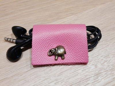 porta auricolari pelle bottone elefantino cuffiette  cellulare rosa