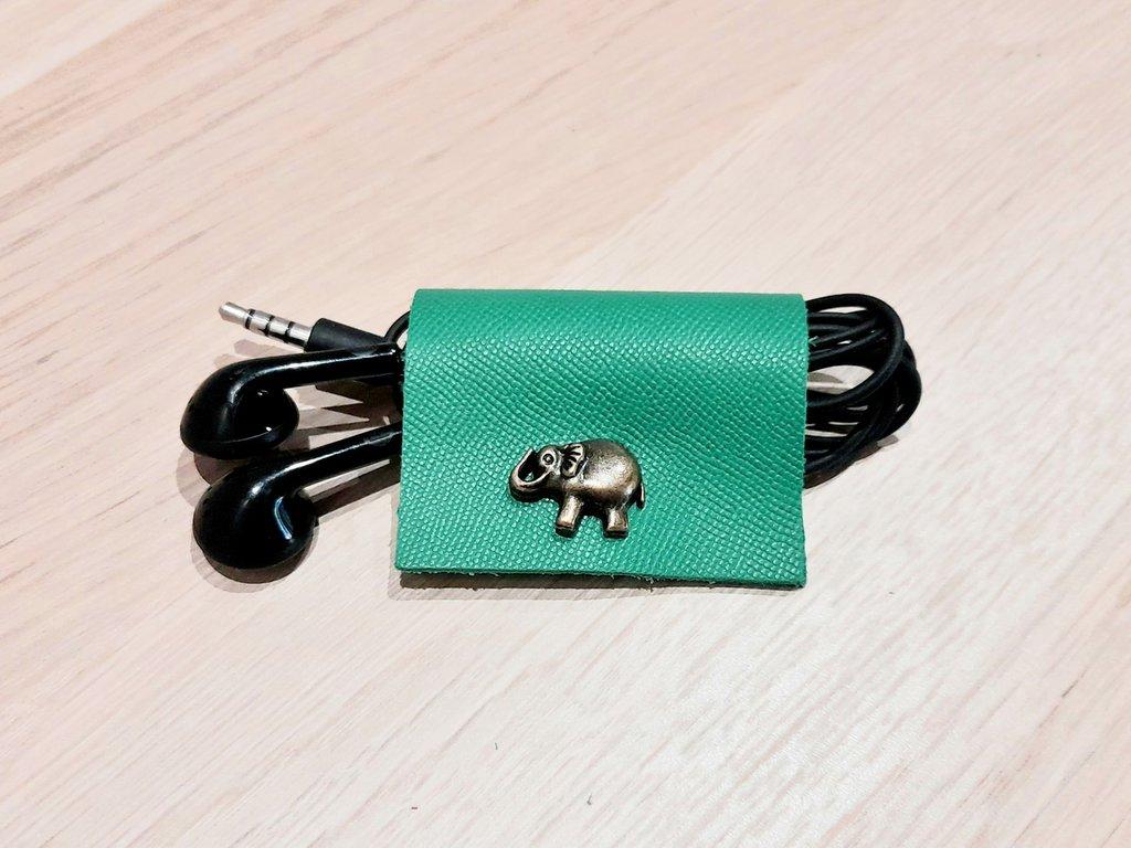 Avvolgi cavo auricolari pelle, accessori smartphone, porta auricolari,   verde, elefantino