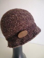 Cappello donna cloche marrone scuro