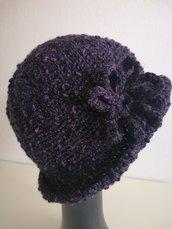 Cappello donna lana nera e viola