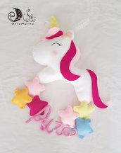 Fiocco nascita unicorno con pioggia di stelline e nome personalizzabile