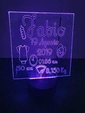 lampada led multicolore con incisione personalizzata