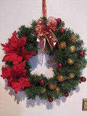 Ghirlanda di Natale oro e rossa