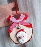 Medaglione legno_ addobbo natalizio Babbo Natale fimo