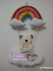 Fiocco nascita orsetto con arcobaleno