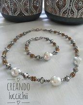 Parure cristalli e perle