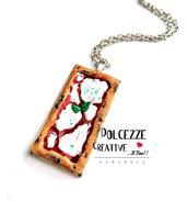 Collana pizza margherita rettangolare - collana kawaii - handmade miniature - idea regalo - fake food