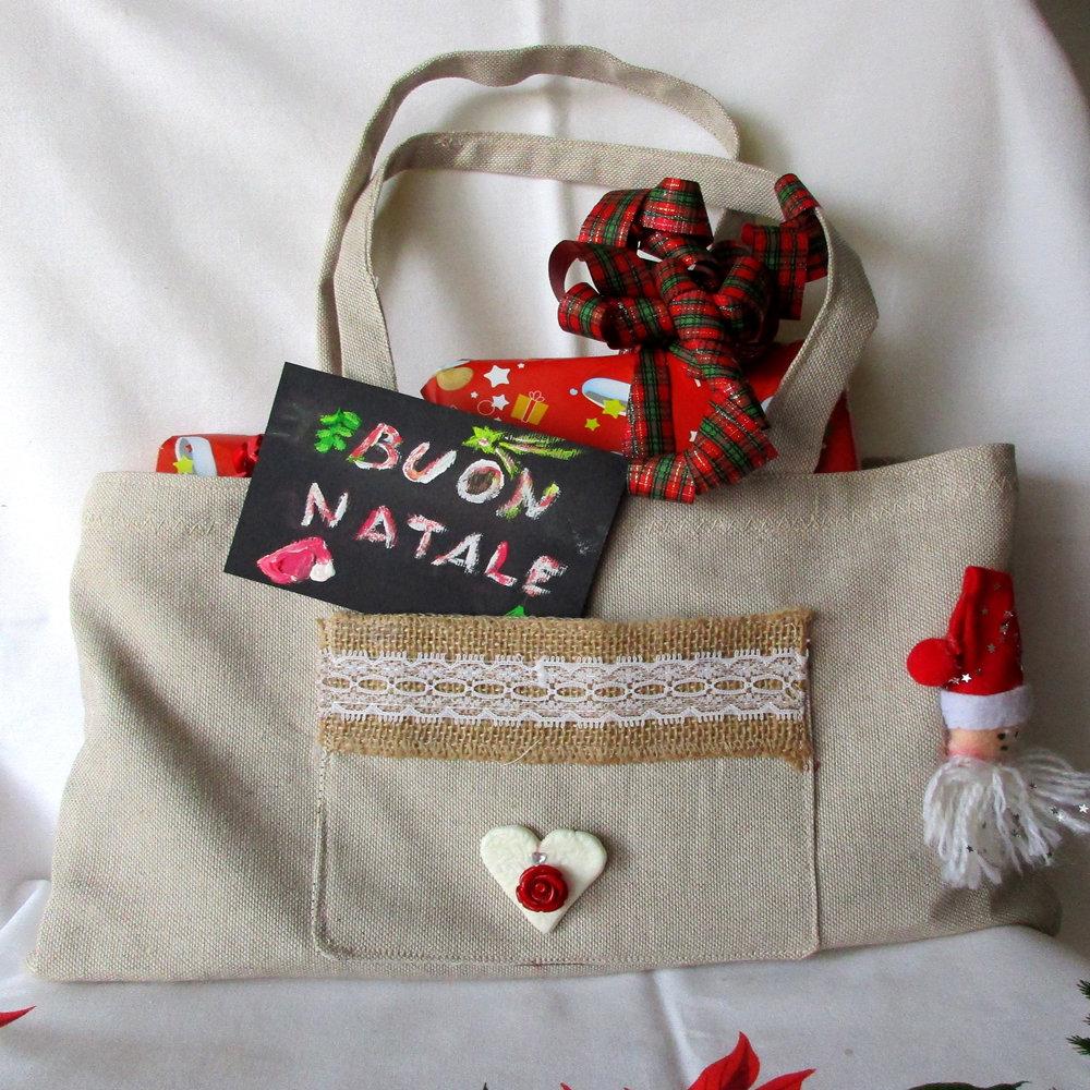 Borsa in tessuto per regali natalizi
