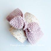 Fascia capelli bambina neonata - fascetta lana e alpaca rosa - fatta a mano